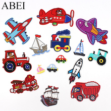 15pcs/lot Mix Vehicle Patches Embroidered Cartoon Airplane Train Car Truck Boats Sewing Appliques DIY Children Clothes Stickers