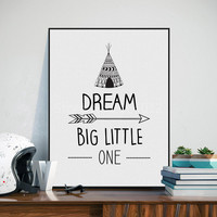 Modern Nordic Black White Dream Big Quotes Canvas Painting Abstract Art Print Children Kids Posters Wall