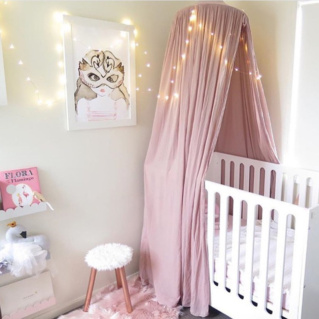 Kids round princess canopy bed curtain cotton hanging tent - Habitacion juvenil doble ...