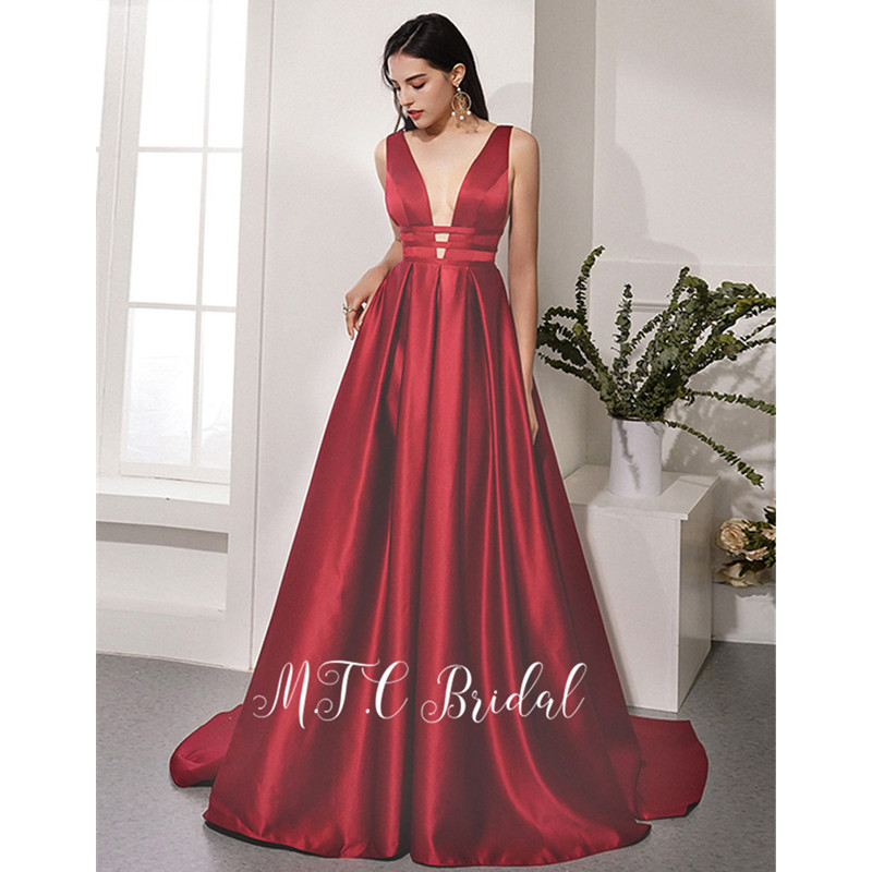 Date 2019 bourgogne Long Satin robe de soirée formelle dos nu une ligne profonde col en V Sexy robes de bal vente chaude femmes robes de soirée