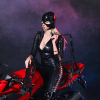 2017 Women Black PVC Sexy Faux Leather Latex Catsuit Game Uniforms Sex Fetish Bondage Harness Bodysuit