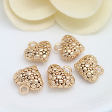 6PCS 13*14MM 24K Champagne Gold Color Plated Brass 3D Heart Charms Pendants High Quality Diy Jewelry Accessories