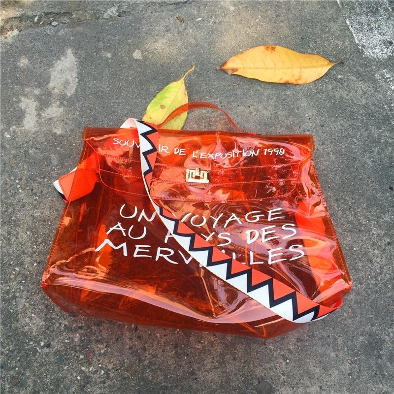 Fashion Ins Laser Clear Transparent Bag Compesite Bag Shoulder Crossbody Handbags Super Big Mother Bag