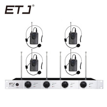 лучшая цена Free shipping Wireless Microphone System ETJ U402 Professional Microphone 4 Channel Dynamic 4 Headset Microphone + Karaoke