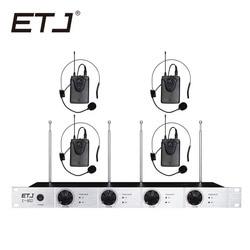 Free shipping Wireless Microphone System ETJ U402 Professional Microphone 4 Channel Dynamic 4 Headset Microphone + Karaoke