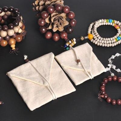 Linen Flip Type Gift Bag 9x10cm 12x12cm Pack Of 24 Double Deck Necklace Bracelet Bangle Jewelry Cotton Pouch