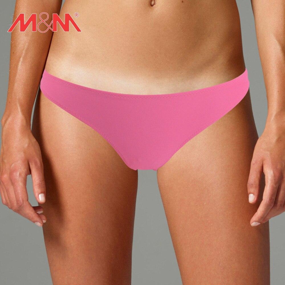 092a2fd5053 M&M Pink Solid Bikini Bottom Sporty Women Beach Swim Pants Sexy 2016 Low  Waist Girls Swim Briefs Brazilian Swim Bottom Shorts
