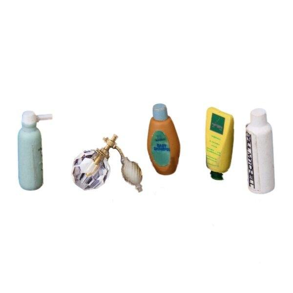 Dollhouse Furniture Bathroom Perfume Shampoo Bath Gel Set 1: 12 Scale
