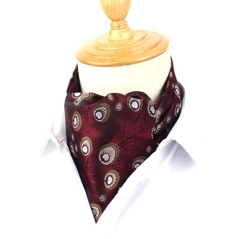 Men Cravat Ties Classic Cravat Ascot For Men Scrunch Self British style Gentleman Polyester Neck Tie Luxury Jacquard Cravats