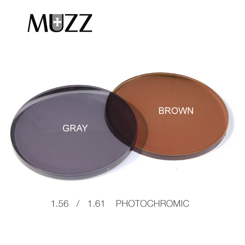 MUZZ  1.50/1.56/1.60/1.67 Index Photochromic Lens Prescription Myopia Presbyopia Eye Glasses Lens Anti-Radiation Resin Lens 2PC