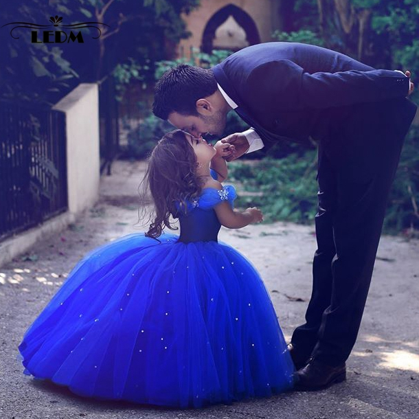 Flower Girl Dress 2019 New Royal Blue Cinderella Puffy Dresses For Kids Prom Custom First Communion Mother Daughter Gowns