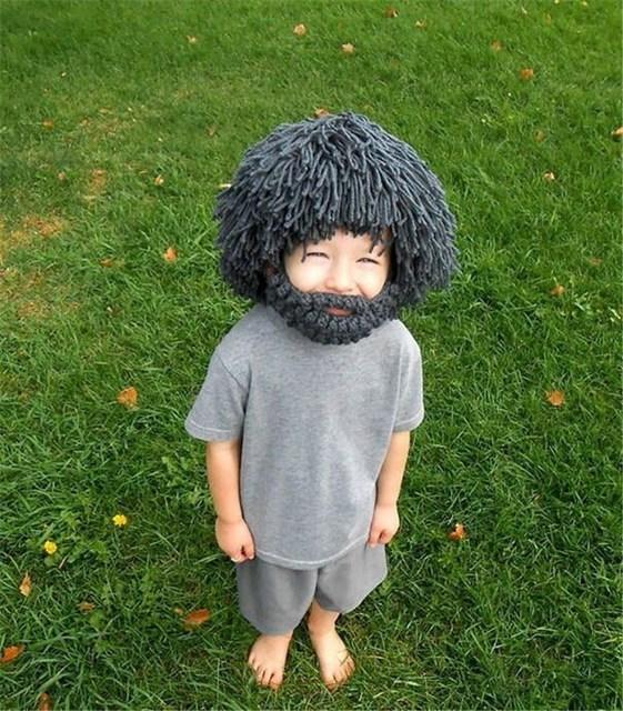 Baby Perücke Hut Handgemachte Stricken Hut Maske Hüte Kinder Mütze