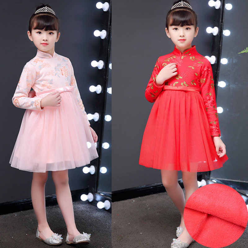 4746a03db63bf Detail Feedback Questions about Children Qipao Dress Chinese Red ...