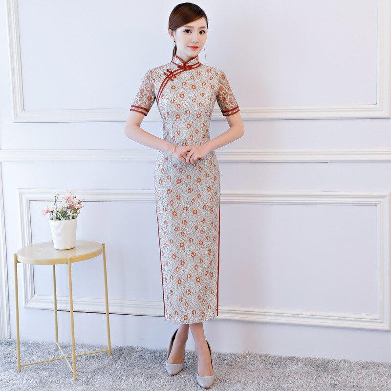 Sexy Summer Cheongsam Vintage Chinese style Lace Long Qipao Womens Elegant Slim Party Dress Vestido Size