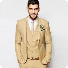 Tailored Classic Men Suit Champagne Beach Wedding Suits Groom Tuxedos Bridegroom 3 Pieces (Jacket+Pant+Vest) Ternos
