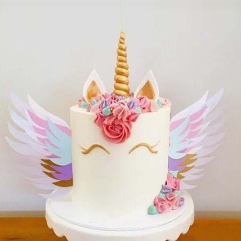 Colorful Unicorn Cake Sparkly Wings Decoration Baby Shower ...