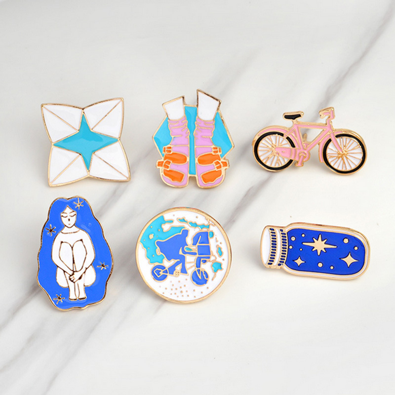 Apparel Sewing & Fabric 1 Pcs Cartoon Bicycle Wish Bottle Metal Brooch Button Pins Denim Jacket Pin Jewelry Decoration Badge For Clothes Lapel Pins Badges