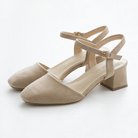 Women Sandals Classic Simple Style Flock Leather Medium Heel Female Summer Shoes With Straps OL Lady