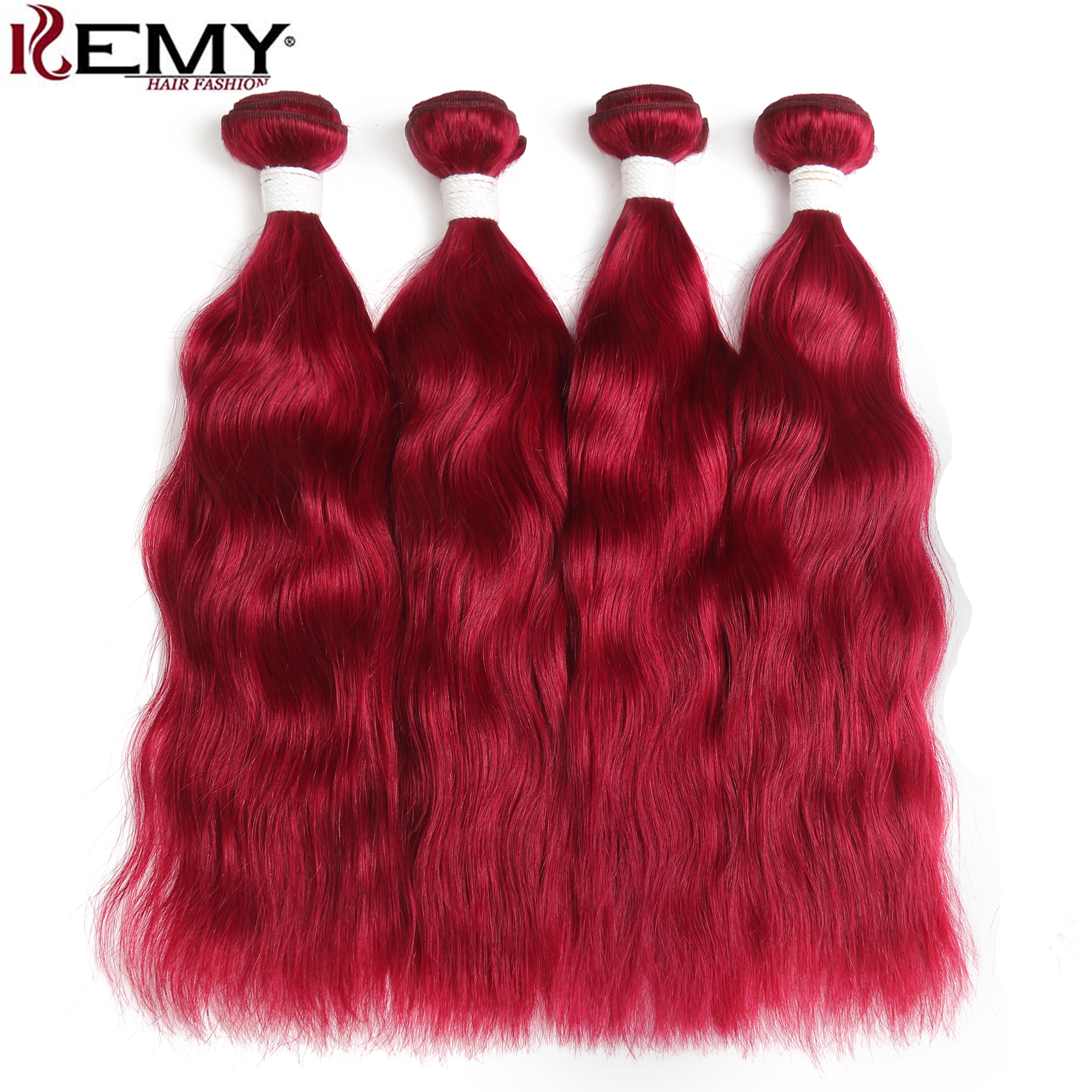 99J/Burgundy Red Color Natural Wave Brazilian Hair Weaves Bundle KEMY HAIR Non-Remy Human Hair Weave Extensions 2/3/4 PCS Bundes