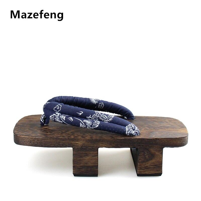 Talón Mazefeng Chanclas Hombres Sandalias De Madera Paulownia Japonés Plataforma Geta Zuecos rdxeWCBo