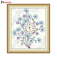 Huacan DIY Diamond Painting Tree Special Shape Rhinestone Embroidery Mosaic Cross Stitch Kits Clock Handmade Needlework