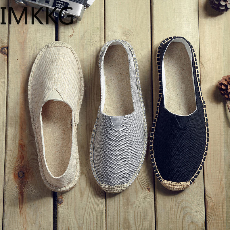 Women Sewing Flax Shoes Slip On Loafers Casual Shoes Woman Espadrilles Hemp Canvas Flat Shoes Plus Size 35-44 S80030