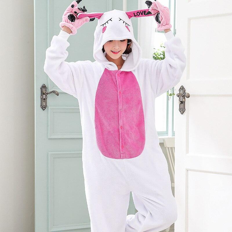 Funny Animal Love Rabbit Onesie Kigurumi Jumpsuit For Adult Pajamas Women For Sleepwear Men Bunny Pyjamas Cosplay Party (3)