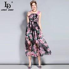 f2b54cd7be LD Linda della nuevo diseñador Runway verano vestido de las mujeres correa  de espagueti backless elegante