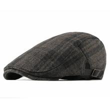 HT1987 New Autumn Winter Wool Beret Men Women Retro Vintage Plaid Ivy Newsboy Flat Cap Adjustable Duckbill Hat