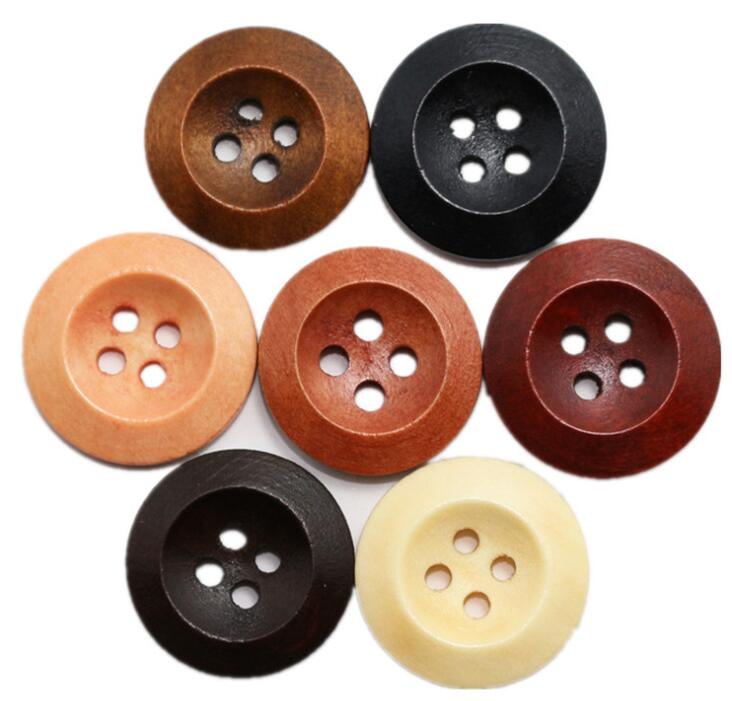 15mm de 4 agujeros Botones Madera-natural Negro Marrón