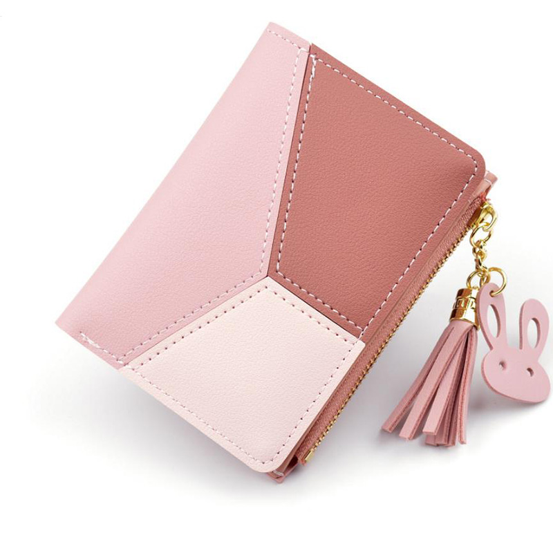 New Arrival Wallet Short Women Wallets Zipper Purse Patchwork Fashion Panelled Wallets Trendy Coin Purse Card Holder PU Leather