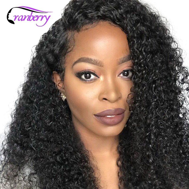 Cranberry Hair 4X4 Closure Wig 100 Remy Hair Curly Human Hair Wig Peruvian Wig Lace Front
