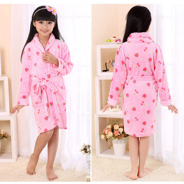 Online Shop Kids Flannel Kimono Robe Bathrobe For Teenager Boy Girls Cartoon  Rabbit Strawberry Printed Children Bath Robe Pink Rose 4-14T  18e277cbd