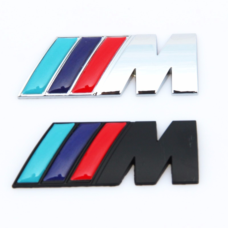 M Power Motorsport Metal Logo Car Sticker Rear Trunk