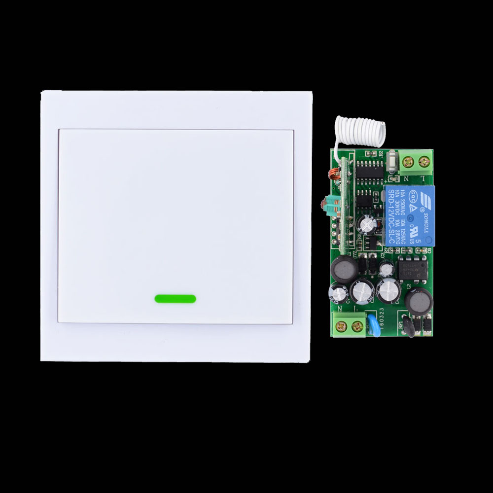 AC 85V 110V 180V 220V 230V 240V Wide Working Voltage Wireless Remote Switch + Wall Remote Control Panel Transmitter Mini Size цена