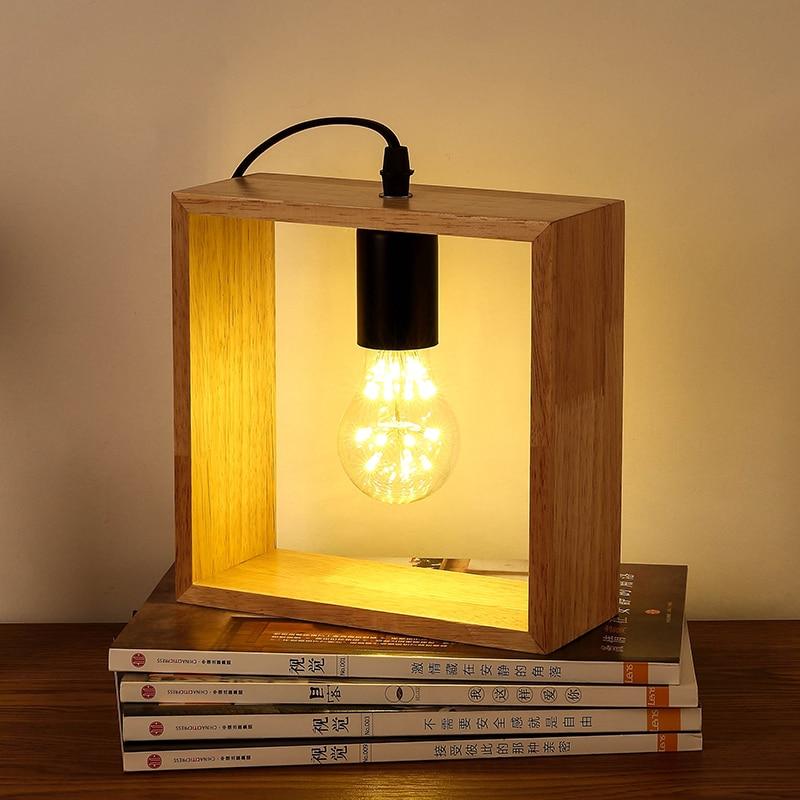 цена на Art Decoration Desk Lamp Vintage Solid Wood Table Lamps Bedside Wooden Lighting for Living Room Bedside Bedroom Reading Lighting