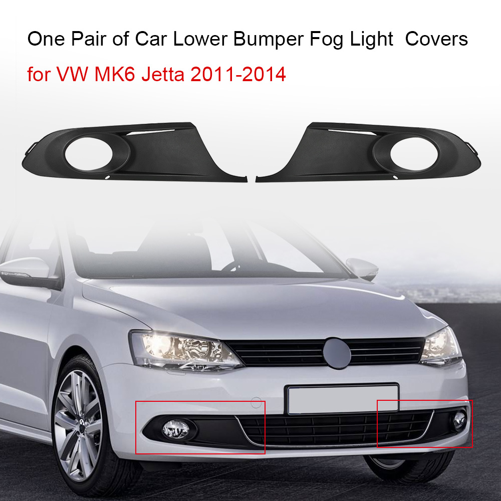 One Pair of Car Lower Bumper Fog Light Grille Grilles Lamp Cover Frame for VW MK6 Jetta 2011-2014 5C6853666A car front bumper mesh grille around trim racing grills 2013 2016 for ford ecosport quality stainless steel