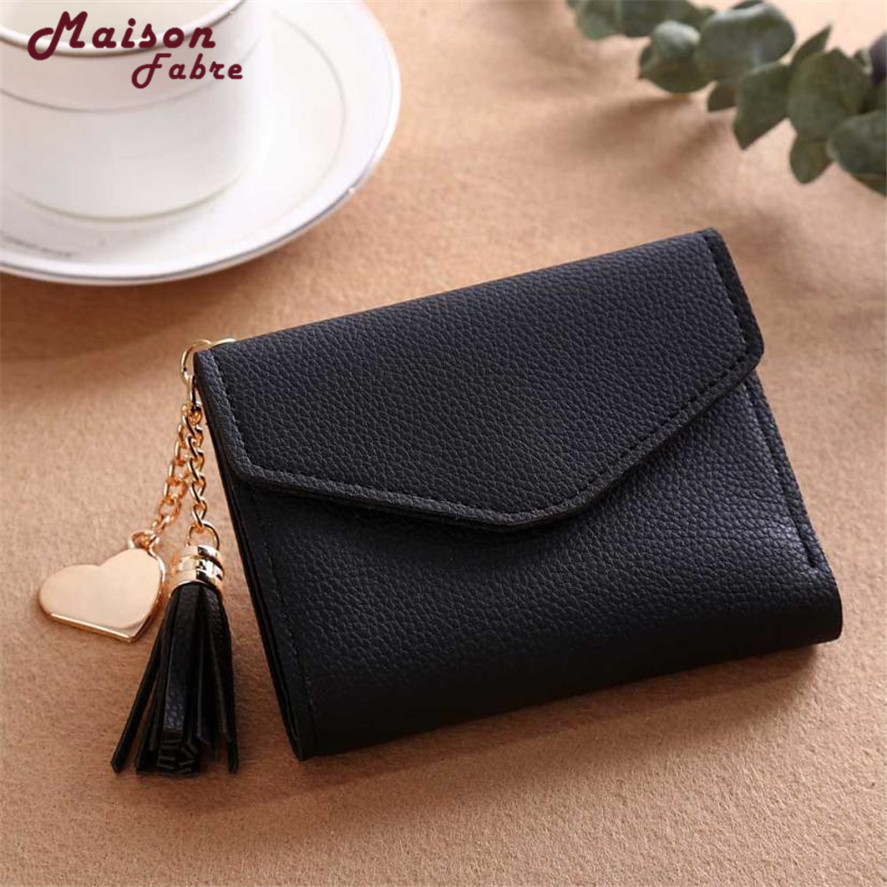 2018 New wallet female small 1PC Mini Women Simple Short Wallet Tassel Coin Purse Card Holders Handbag PU leather wallets