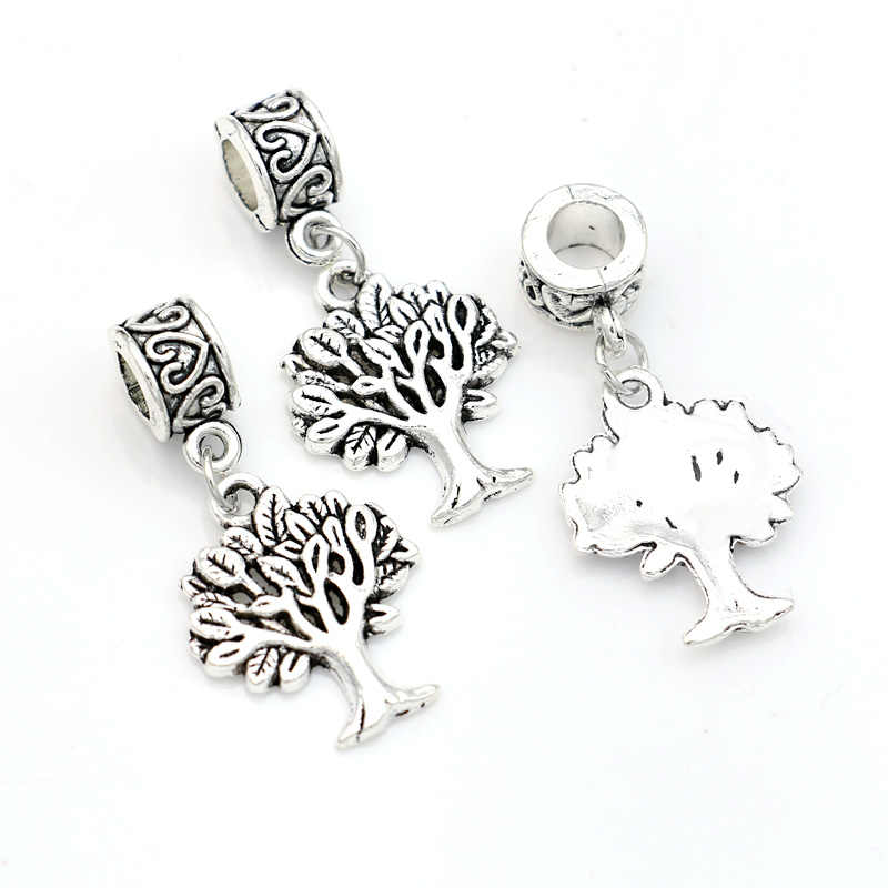 5pcs Tibetan Silver Tree Of Life Charm Beads Fit European Charm Bracelet Necklace Jewelry Making DIY Jewelry Findings Handmde