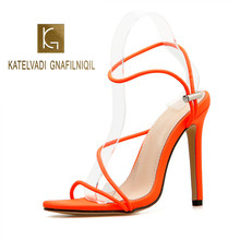KATELVADI Women Sandals Gladiator 12CM High Heels Pointed Toe Summer Flock Party Shoes Ankle Strap Orange K-434