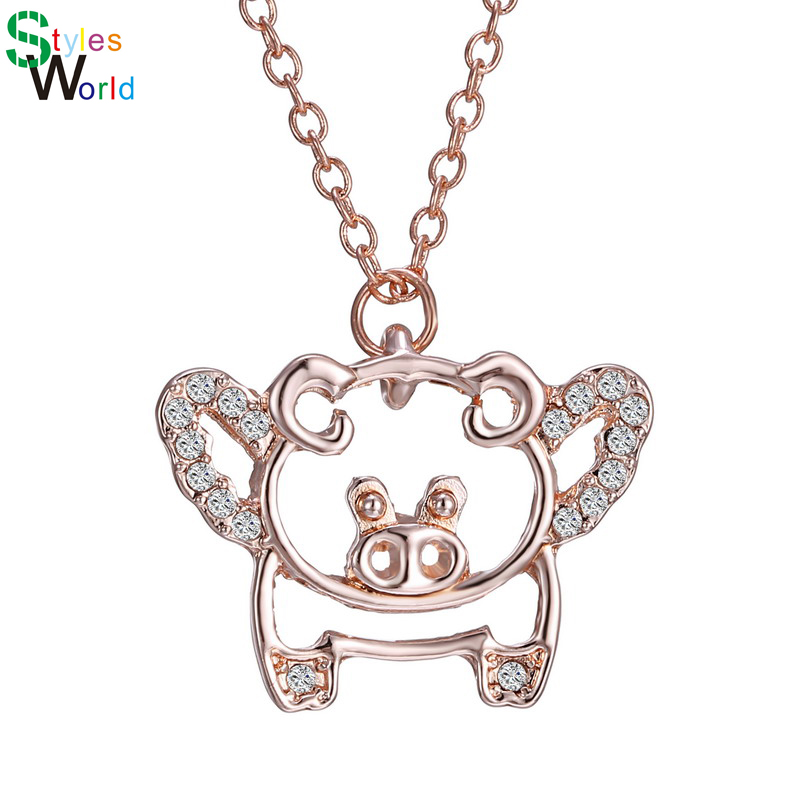 Charming Rose gold Cute Flying Pig Animal Pendant Necklace Rhinestone jewelry for children girls gift