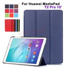 Kst delgado folio pu leather case cubierta del tirón para huawei mediapad t2 pro 10 10.0 fdr-a01w fdr-a03l tablet case inteligente cubierta
