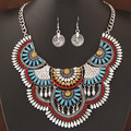 WH20160309-16   2016 New Fashion Women big chunky Crystal Necklaces And Earrings Statement Pendant Necklace Jewelry
