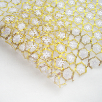 Fashion Gold Flowers Metallic Tulle Mesh Fabric Birthday Gift Wrap Party Decoration Christmas DIY New Year