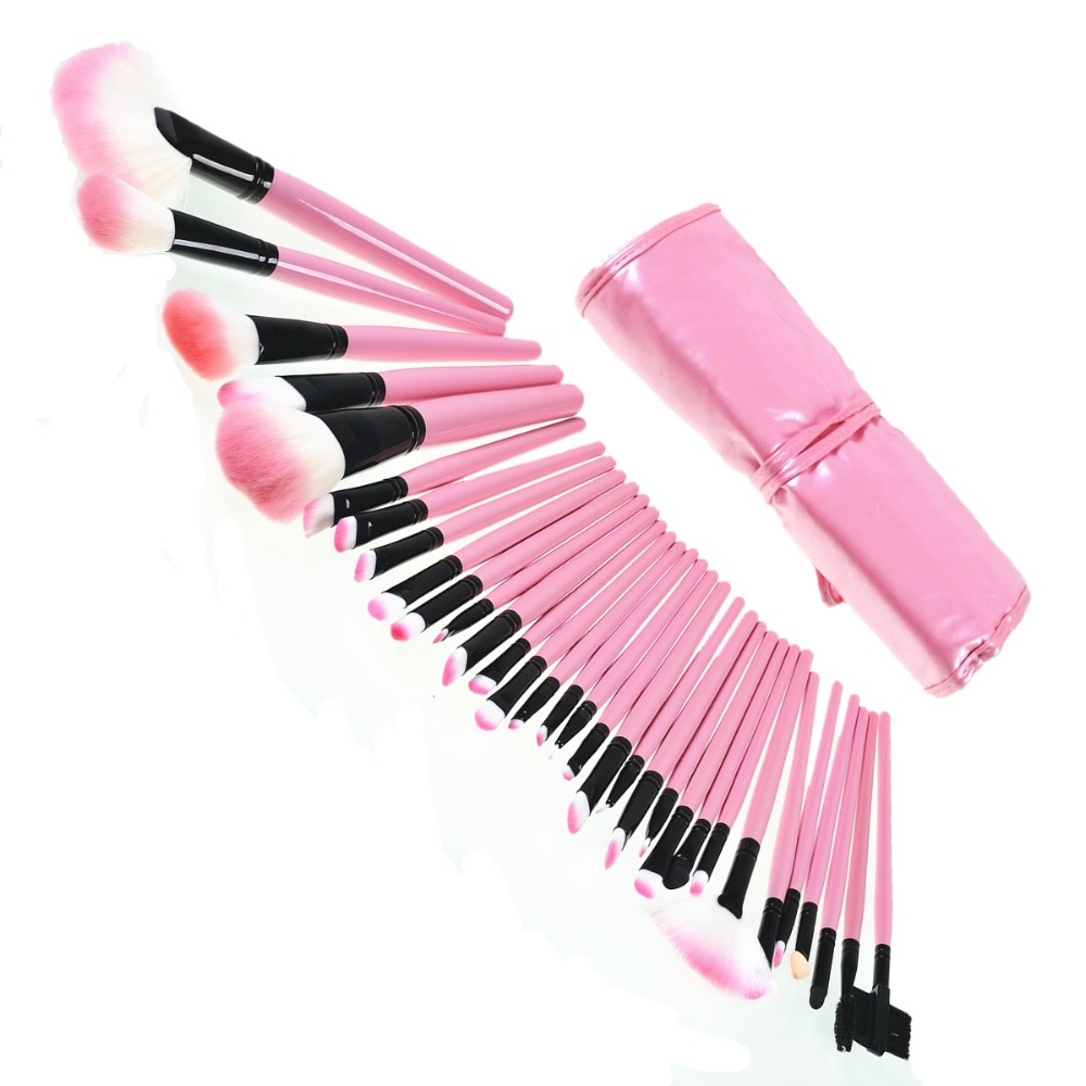 32Pcs Soft Makeup Brushes Professional Cosmetic Make Up Foundation Brush Set With PU Leather Case The Best Quality Pink Hot Sale professional bullet style cosmetic make up foundation soft brush golden white