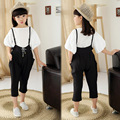 Children's Wear Spring Summer Suspenders Girls Palace Culture Quality Harlan Feet Pants Jumpsuits Black Straps Trousers
