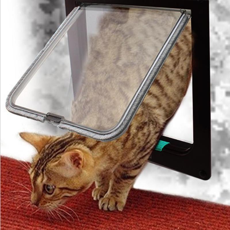 4 Way Lockable Dog Cat Kitten Door Security Flap Door Abs Plastic Animal Small Pet Cat Dog Gate Door Pet Supplies S/m/l