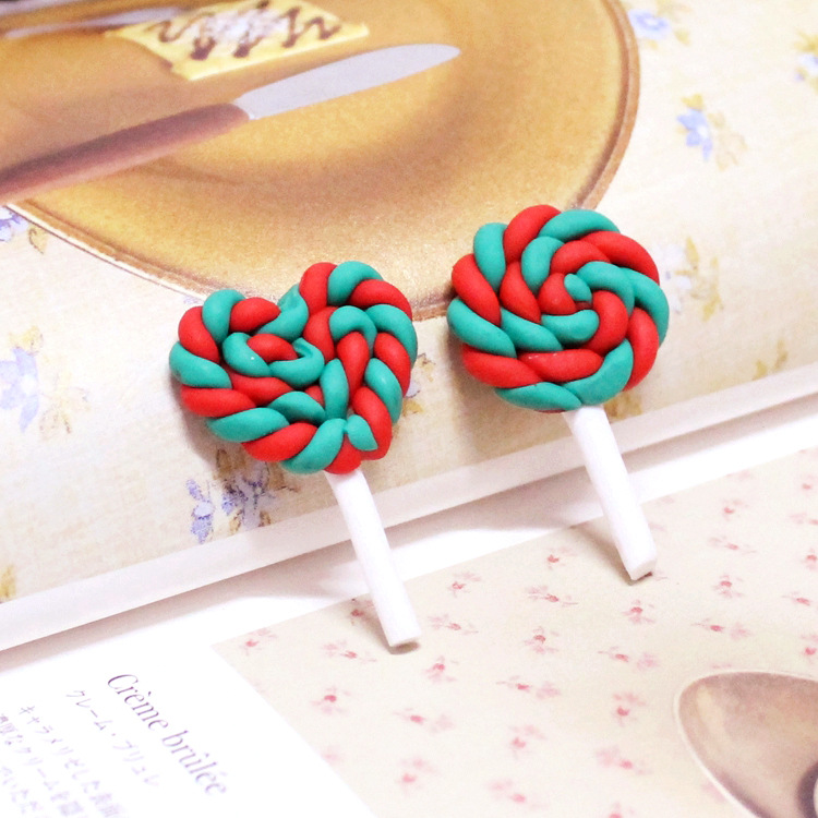 30pcs/ 25*45 clay Lollipops Christmas charm for jewelry diy making Christmas decoration accessories