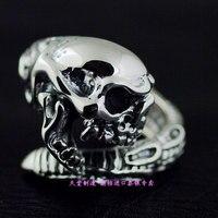 Тайское серебристое Открытое кольцо череп