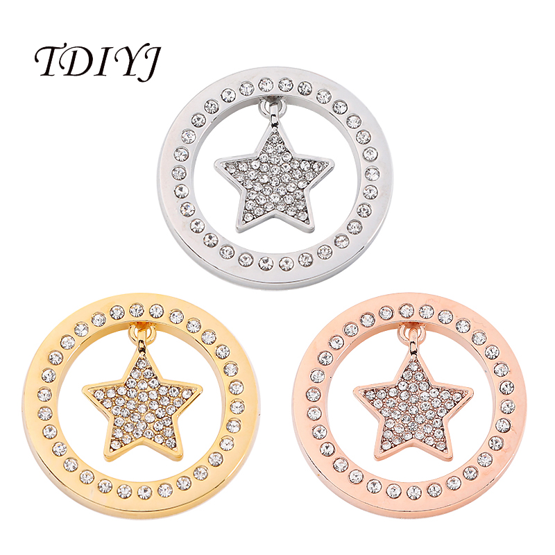 Interchangeable Disc Necklace: TDIYJ New My Coin Disc 33MM Full Crystal Star Coin Pendant